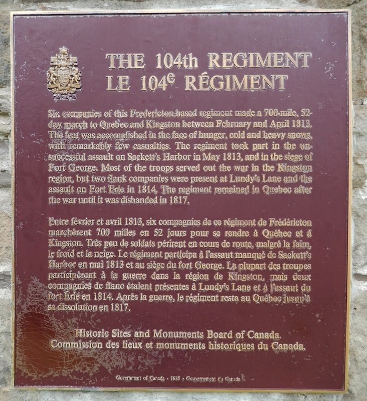 The 104th Regiment / Le 104e Régiment Marker image. Click for full size.