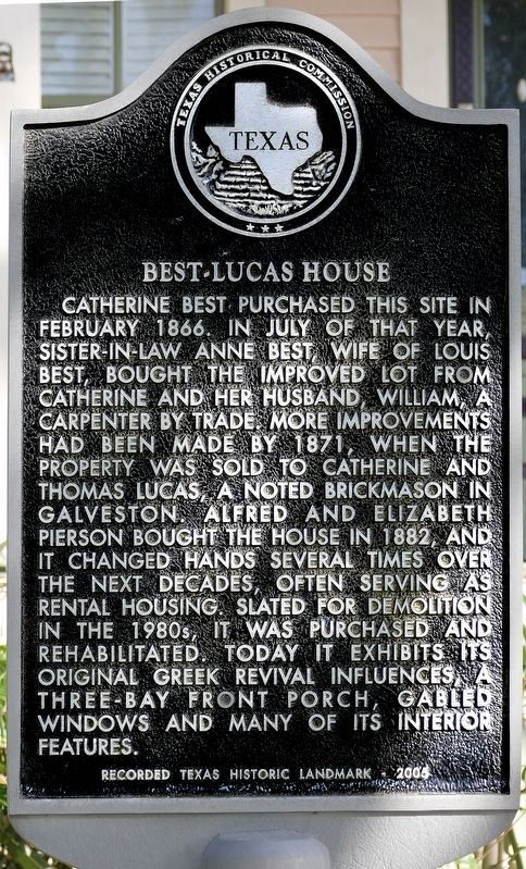 Best-Lucas House Marker image. Click for full size.