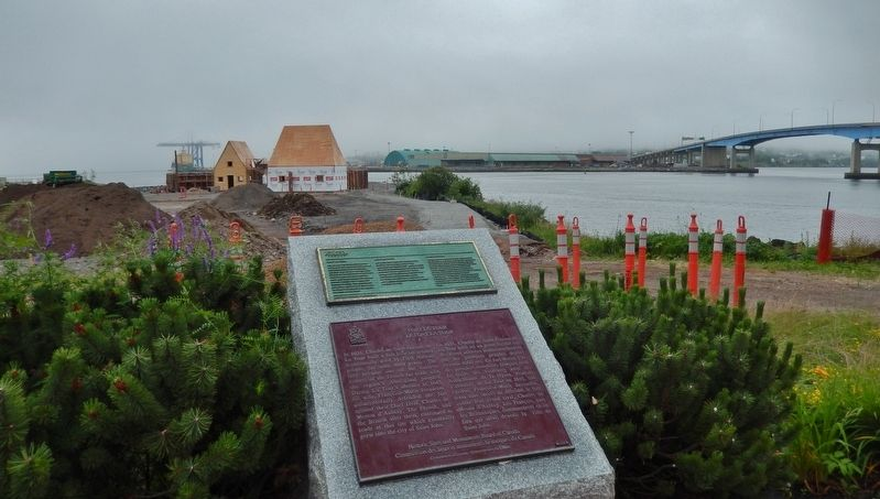Fort La Tour Marker • <i>wide view<br>(Fort La Tour exhibit construction in background)</i> image. Click for full size.