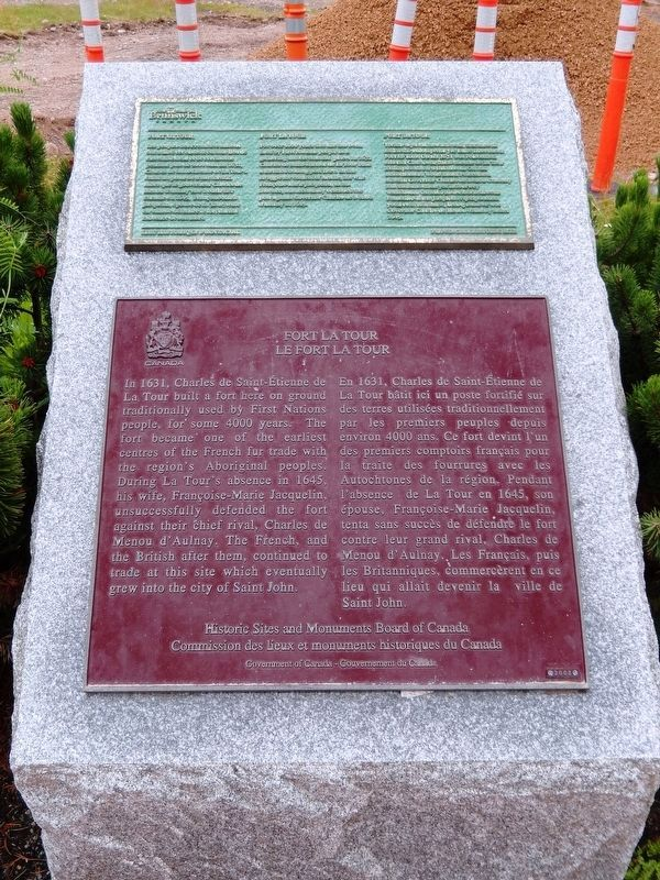Fort La Tour Marker • <i>tall view<br>(related New Brunswick marker above)</i> image. Click for full size.