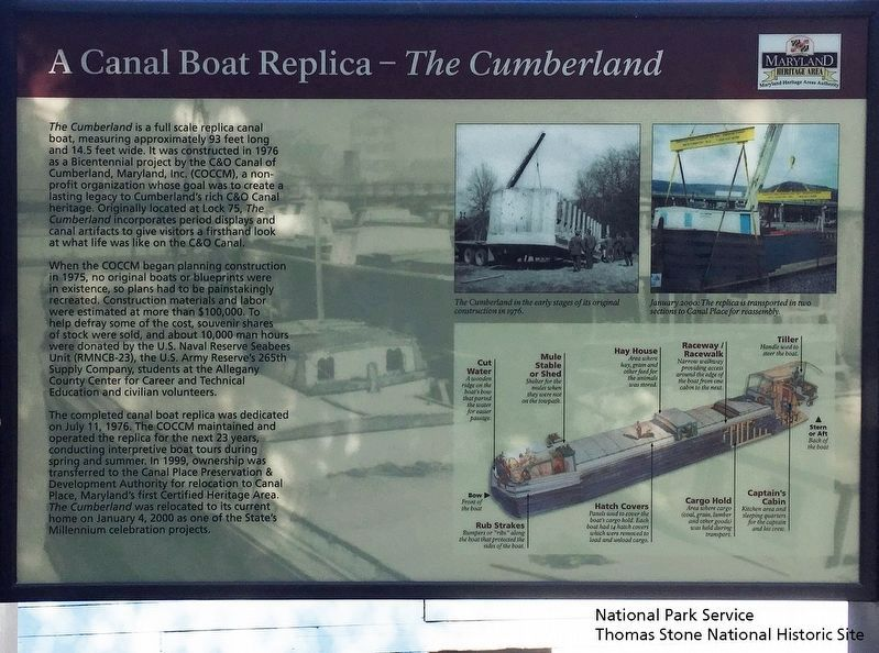 A Canal Boat Replica—<i>The Cumberland</i> Marker image. Click for full size.