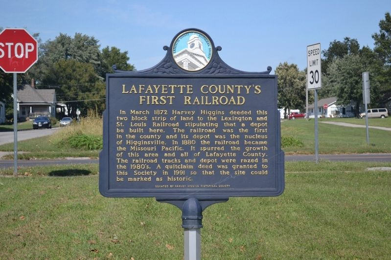 Lafayette County's First Railroad Marker image. Click for full size.