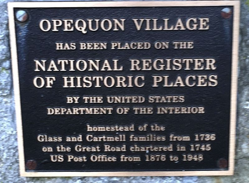 Opequon Village Marker image. Click for full size.