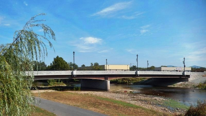 Main Street Bridge<br>(<i>view from South River Greenway trail, south of marker</i>) image. Click for full size.