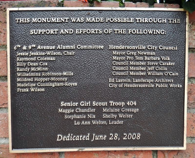 Sixth Avenue School Marker Dedication Plaque<br>(<i>located near marker</i>) image. Click for full size.