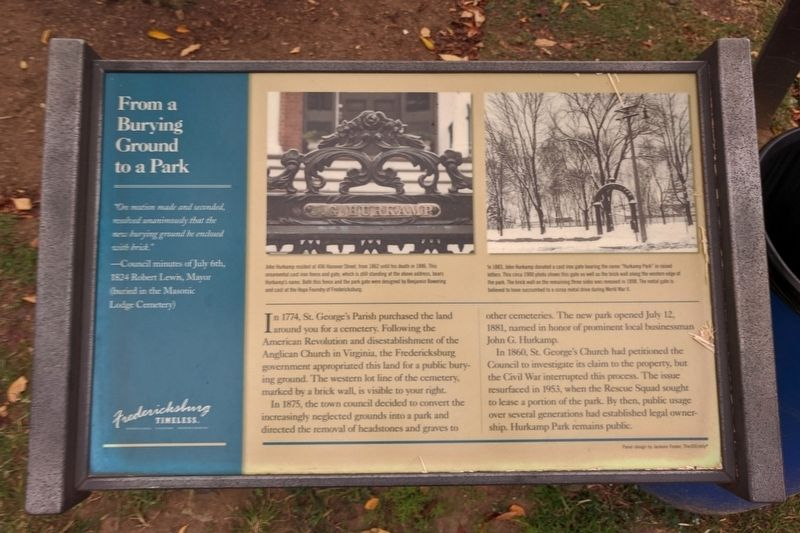 From a Burying Ground to a Park Marker image. Click for full size.