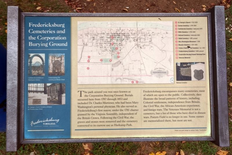 Fredericksburg Cemeteries and the Corporation Burying Ground Marker image. Click for full size.