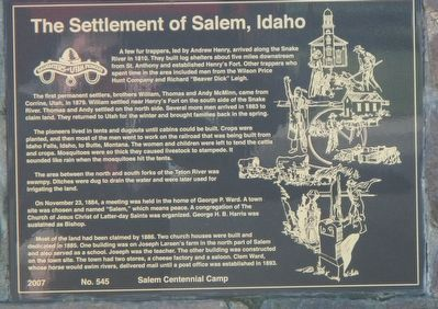 The Settlement of Salem, Idaho Marker image. Click for full size.