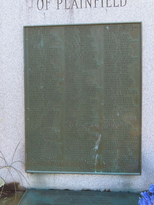 Plainfield World War II Monument image. Click for full size.