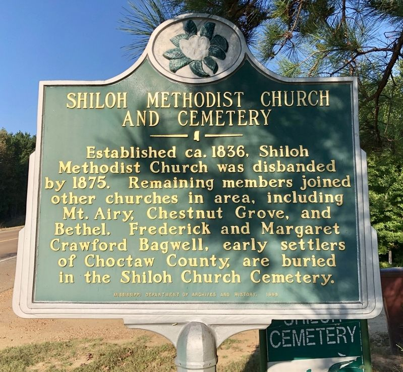 Shiloh Methodist Church and Cemetery Marker image. Click for full size.