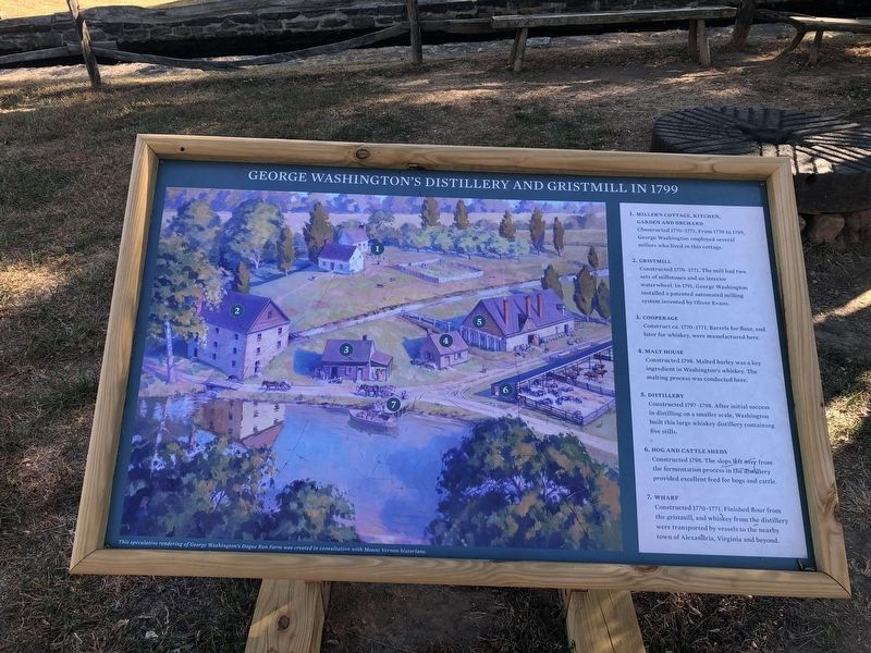 George Washington's Distillery and Gristmill in 1799 Marker image. Click for full size.