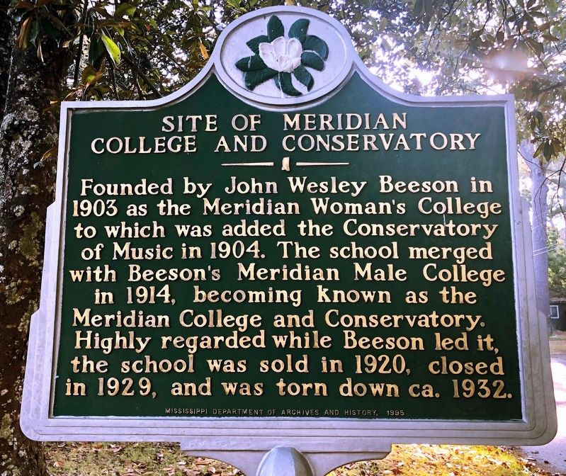 Site of Meridian College and Conservatory Marker image. Click for full size.