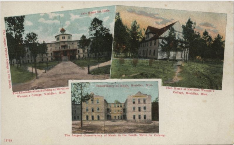 Meridian College and Conservatory postcard. image. Click for full size.