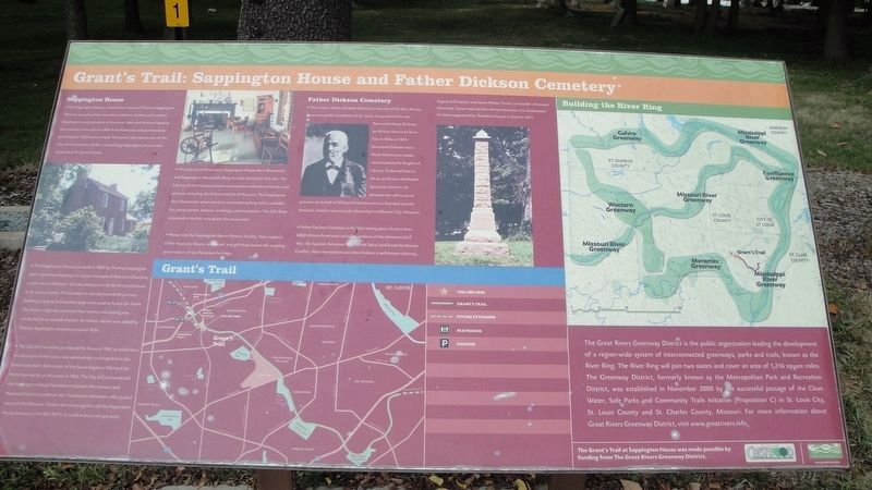Grant's Trail: Sappington House and Father Dickson Cemetery Marker image. Click for full size.