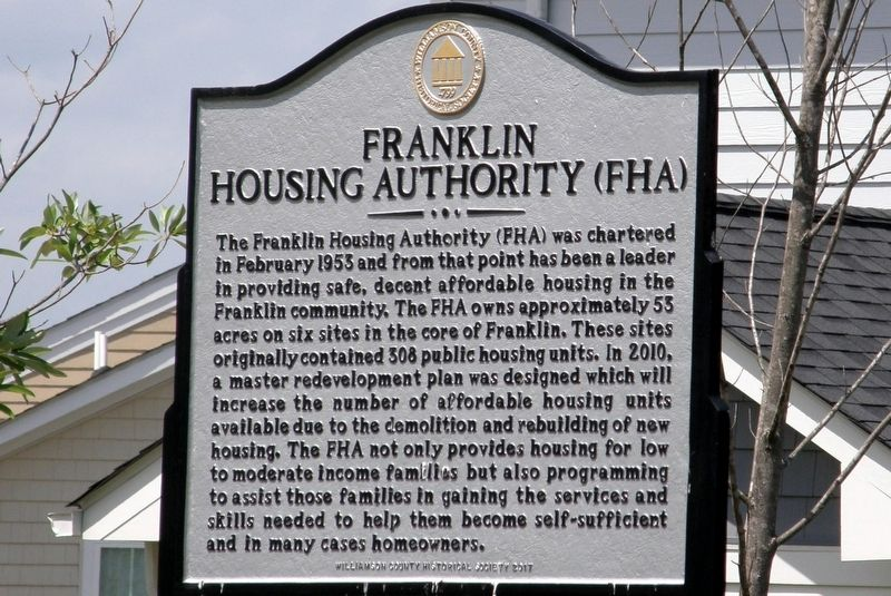 Franklin Housing Authority (FHA) Marker image. Click for full size.