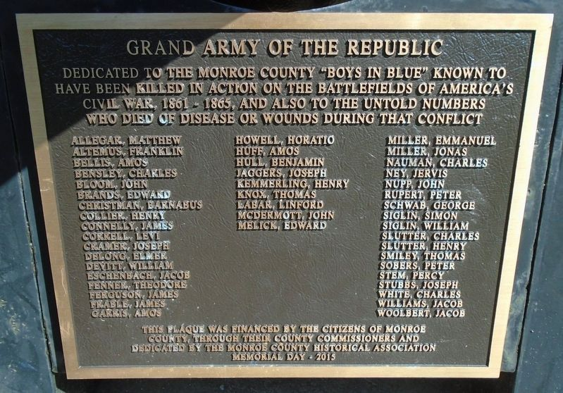 "Monroe County ""Boys in Blue"" Honored Dead Marker image. Click for full size."