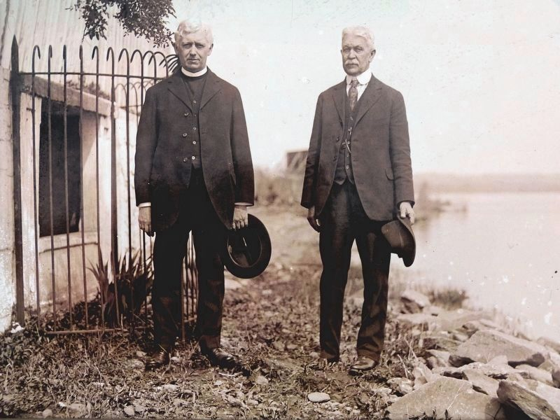 Fred Woodward (on the right) and an unknown clergyman image. Click for full size.