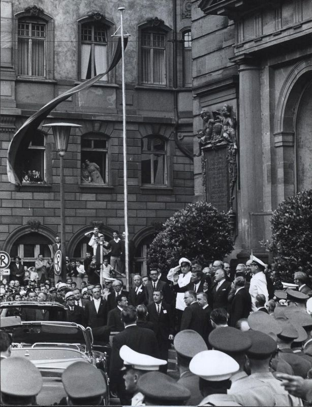 <i>President Kennedy Responds To Cheers From The Crowd As He Leaves...Paulskirche in Frankfurt</i> image. Click for full size.