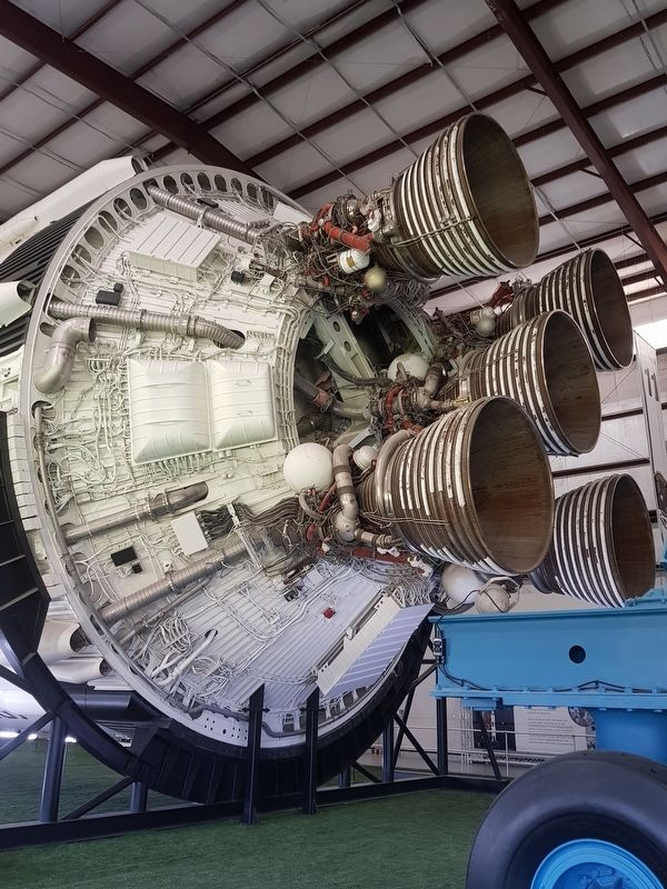 Five J-2 Engines on Stage 2 of the Saturn V. image. Click for full size.
