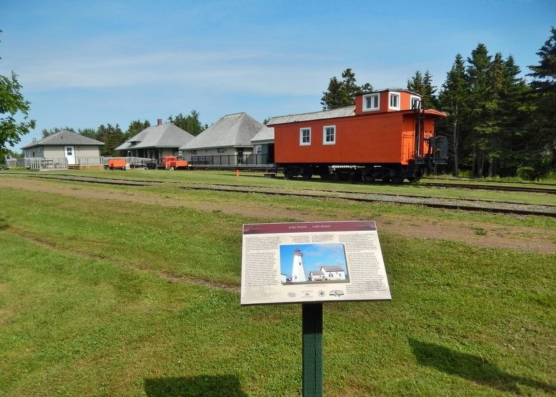 East Point Marker • <i>wide view<br>(Elmira Railway Museum in left background)</i> image, Touch for more information