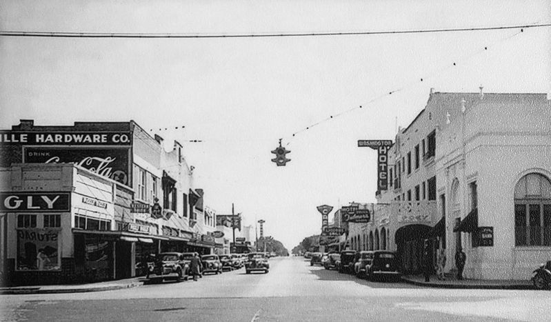 Marker detail: Downtown Titusville (<i>undated • circa 1940s</i>) image. Click for full size.