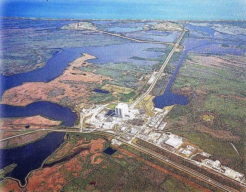 Marker detail: Kennedy Space Center (<i>aerial view</i>) image. Click for full size.