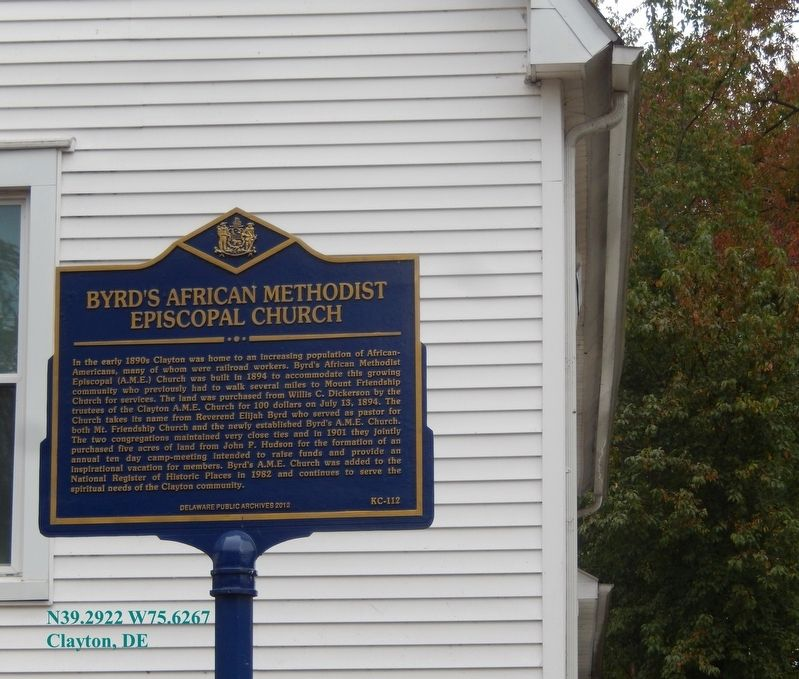 Byrd's Africian Methodist Episcopal Church Marker image. Click for full size.