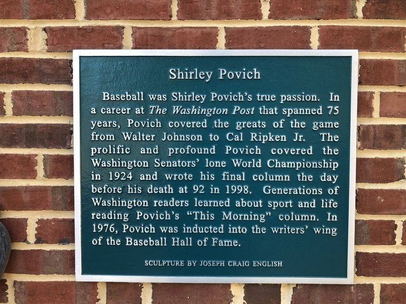 Shirley Povich Marker image. Click for full size.