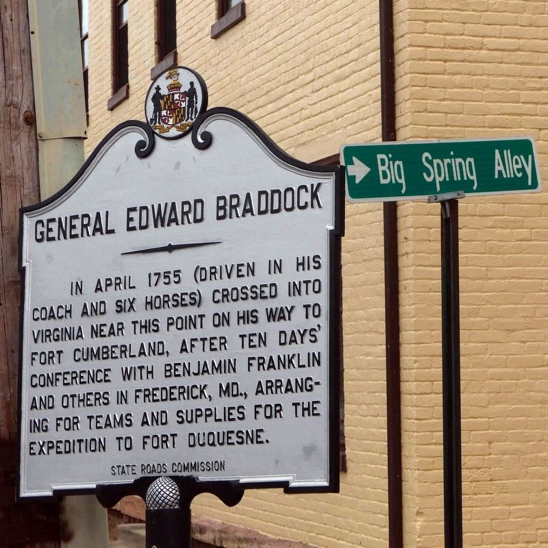 Big Spring Alley (Alley 15)<br>& the General Edward Braddock marker image. Click for full size.