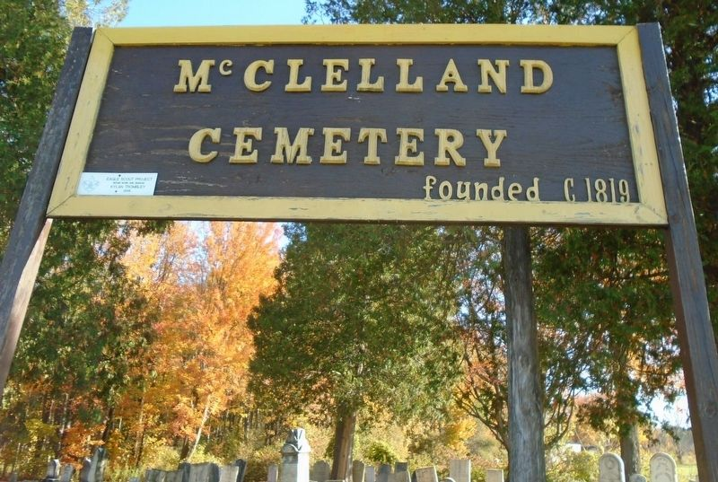 McClelland Cemetery Sign image. Click for full size.