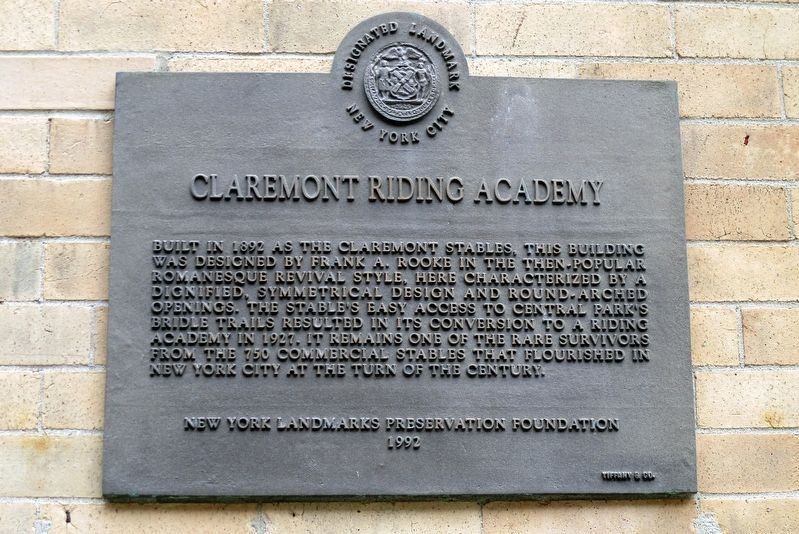 Claremont Riding Academy Marker image. Click for full size.