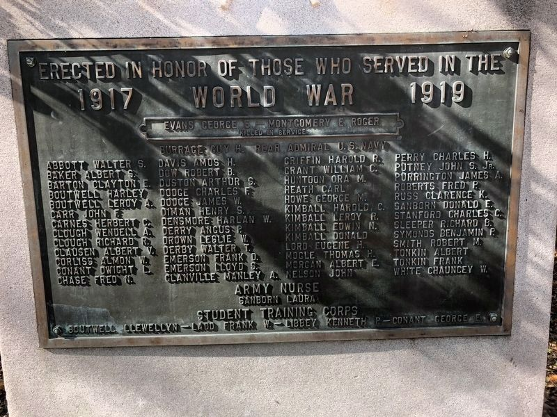 Hopkinton World War I Monument image. Click for full size.