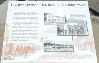 Sheridan Montana - The Heart of the Ruby Valley Marker image. Click for full size.