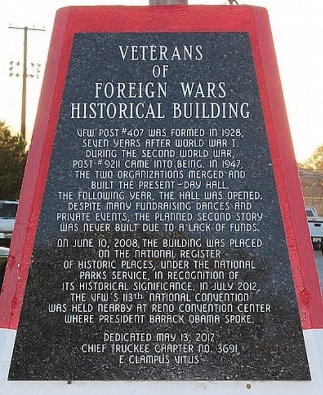 Veterans of Foreign Wars Historical Building Marker image. Click for full size.