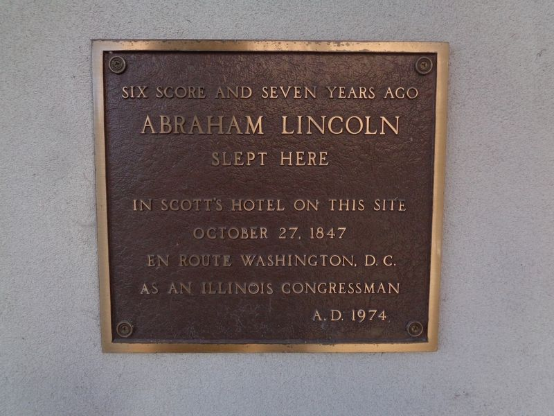 Abraham Lincoln Slept Here Marker image. Click for full size.
