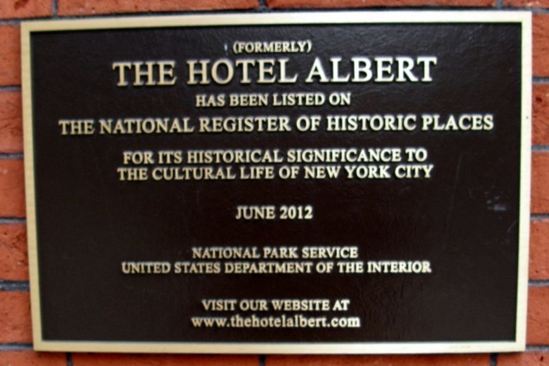The Hotel Albert Marker image. Click for full size.