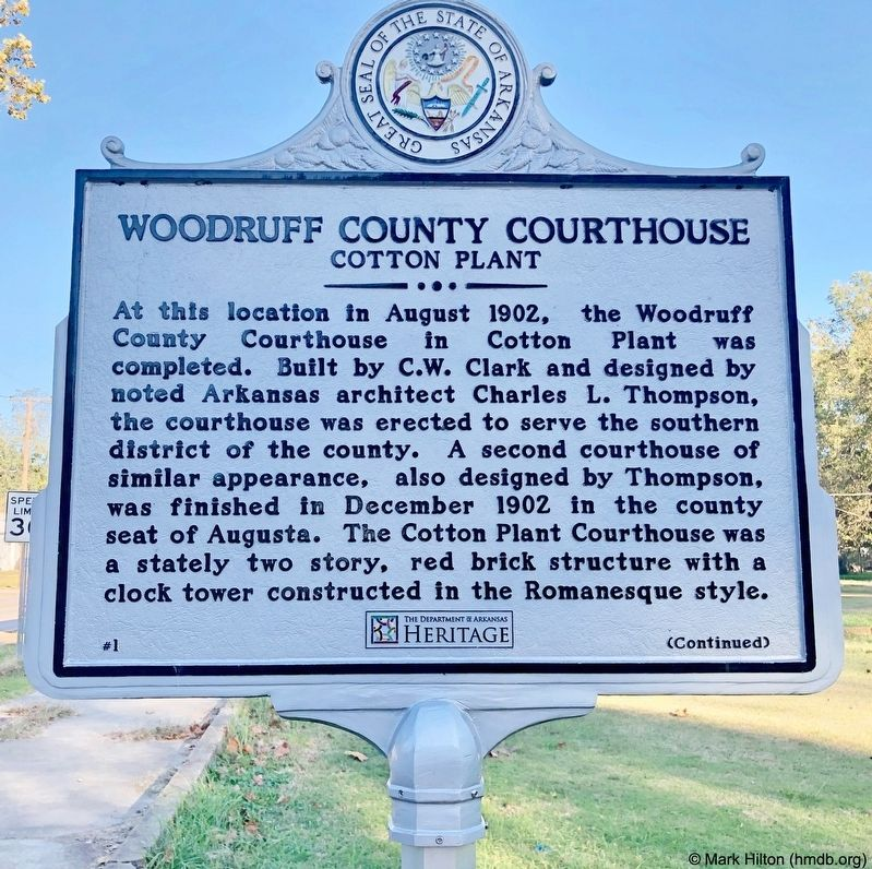 Woodruff County Courthouse Marker image. Click for full size.