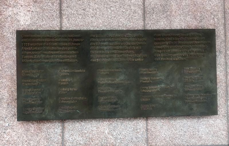 Städtische Bühnen / Municipal Theatre Company - Memorial for Victims of the Nazis Marker image. Click for full size.