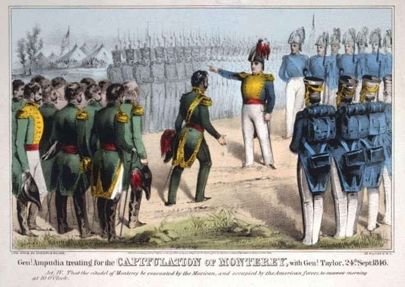 General Ampudia treating for the capitulation of Monterrey with General Taylor 24th Sept. 1846 image. Click for full size.