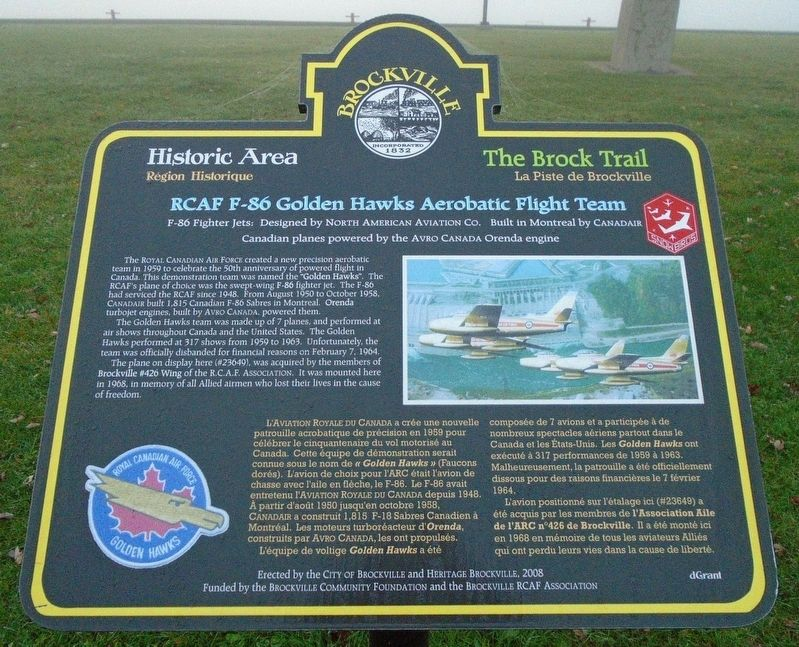RCAF F-86 Golden Hawks Aerobatic Flight Team Marker image. Click for full size.