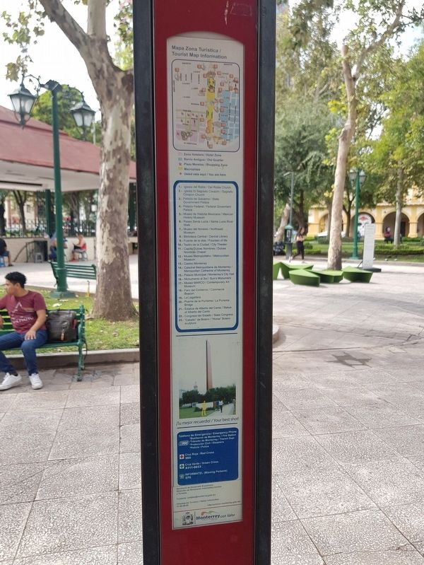 Commerce Beacon Marker - The third side includes a map of important sites in Monterrey image. Click for full size.