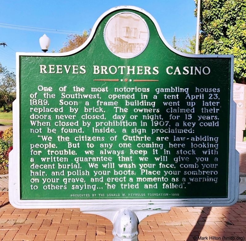 Reeves Brothers Casino Marker image. Click for full size.
