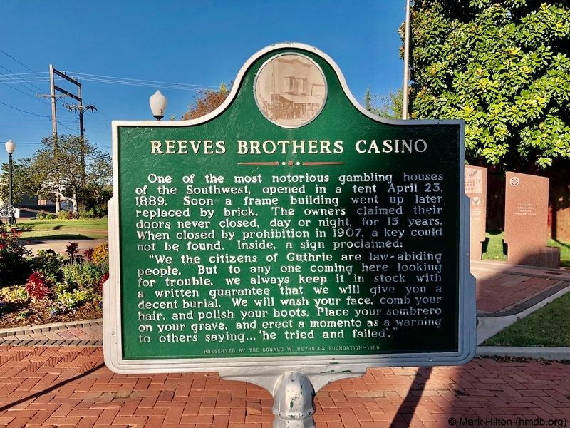 Reeves Brothers Casino Marker at Honor Park. image. Click for full size.