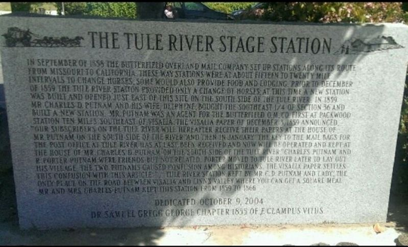 The Tule River Stage Station Marker image. Click for full size.