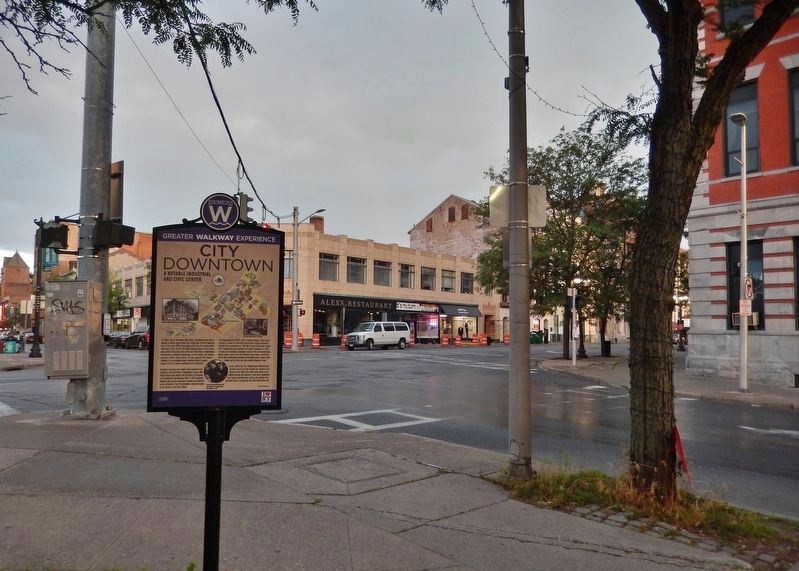 City Downtown Marker • <i>alternate location<br>(northwest corner • Main Street & Market Street)</i> image. Click for full size.