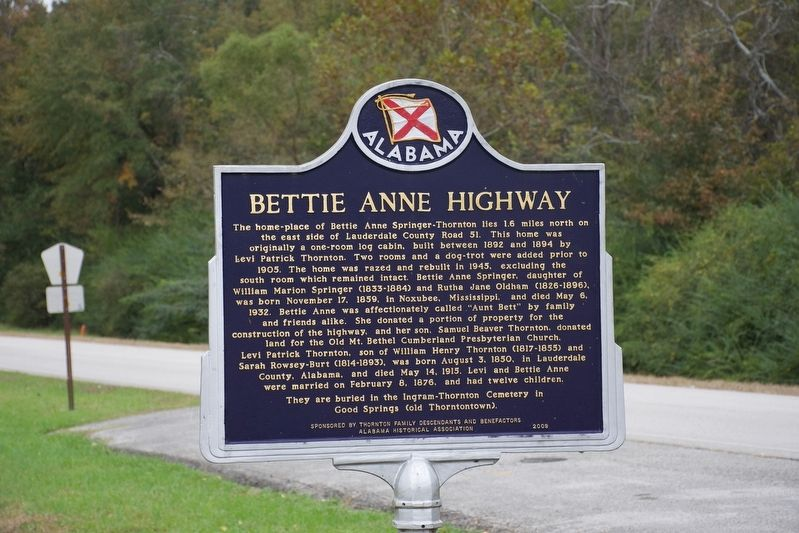 Bettie Anne Highway Marker image. Click for full size.