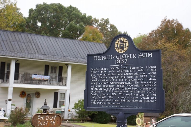 French-Glover Farm 1837 Marker image. Click for full size.