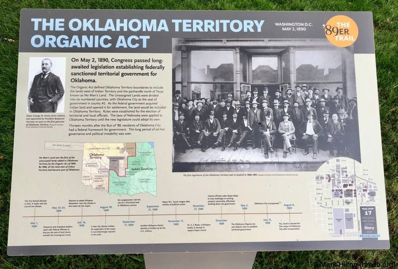 The Oklahoma Territory Organic Act Marker image. Click for full size.