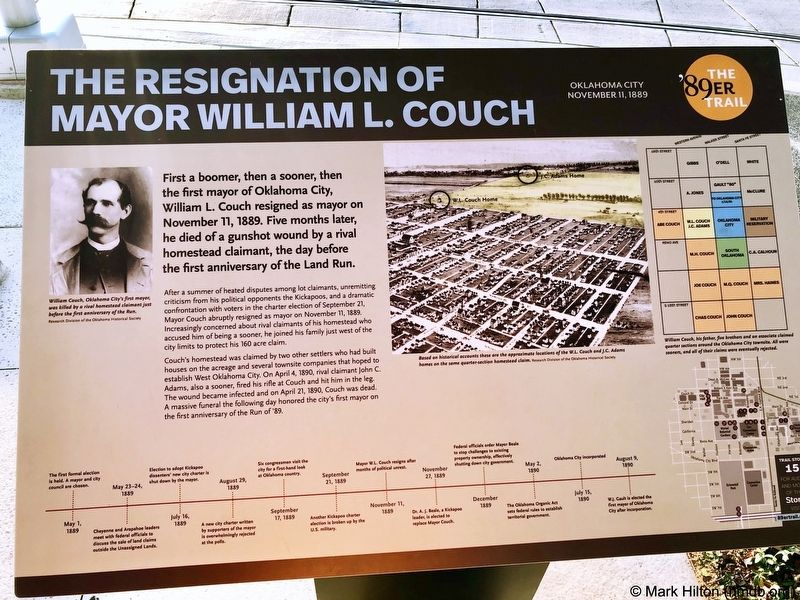The Resignation of Mayor William L Couch Marker image. Click for full size.