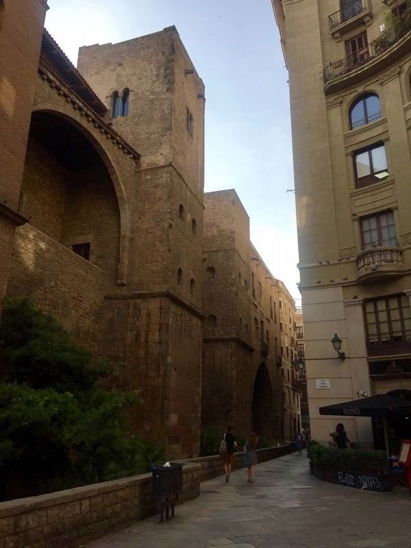 Roman Wall and Defence Towers: looking north on Carrer Sots-tinent Navarro image. Click for full size.